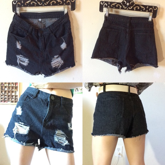 Urban Outfitters Pants - Black Distressed Shortie Denim Shorts
